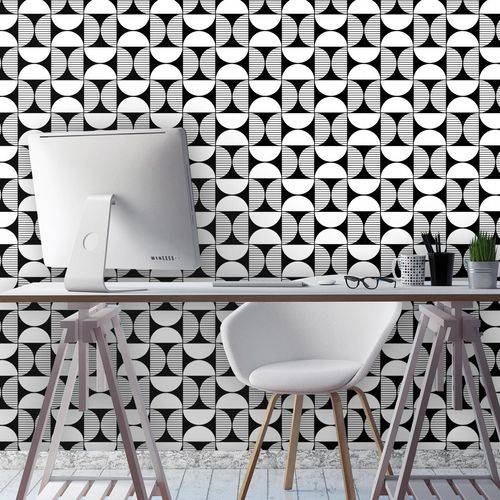 Papel de Parede Autocolante Geometrico Preto e Branco 0200