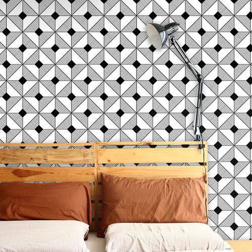 Papel de Parede Autocolante Geometrico Preto e Branco 0201