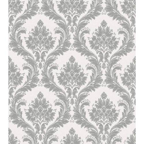 Papel de Parede Beautiful Home Arabesco Vinilico Creme e Prata