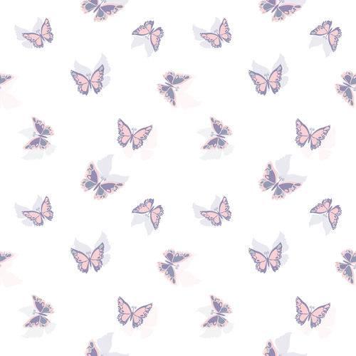 Papel de Parede Borboletas Rosa Lilás Adesivo 2,70x0,57m