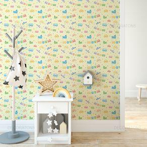 Papel de Parede Brinquedo Infantil Colorido Amarelo Claro - P