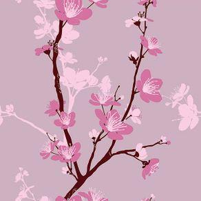 Papel de Parede Cerejeira Fundo Rosa Queimado - P