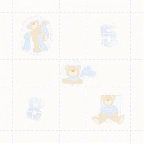 Papel de Parede Coleção Bambinos Azul Bege Quadriculado Ursos 3326