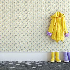 Papel de Parede Crianças Brincando Amarelo Claro - P
