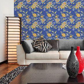 Papel de Parede Floral Cores Vivas Azul Cobalto - P