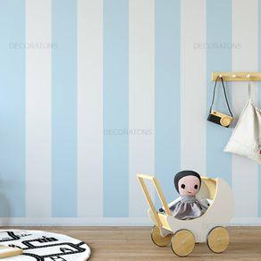 Papel de Parede Listrado 28cm Infantil Azul Claro - P