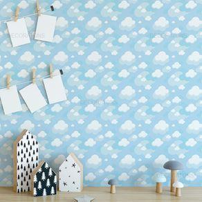 Papel de Parede Nuvens Infantil Sobreposta Azul Claro - P