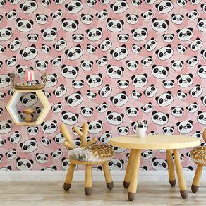 Papel de Parede Panda Carinhoso Rosa Claro - P