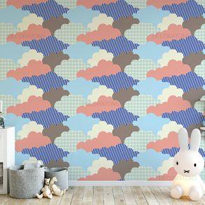Papel de Parede Patchwork Nuvens Abstrato Colorido - P