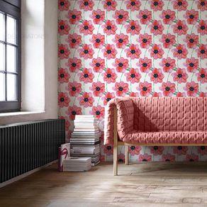 Papel de Parede Pinturas de Flores Rosa Claro - P
