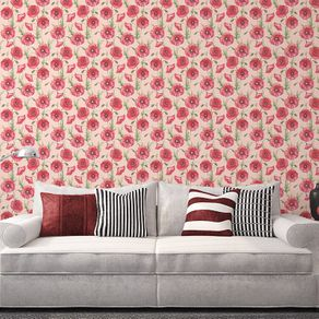 Papel de Parede Tropical Arranjo de Flores Rosa Claro - P