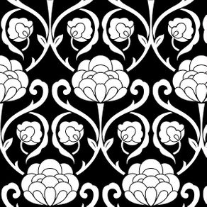 Papel de Parede Vintage Floral Preto e Branco - M