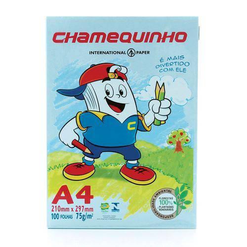 Papel de Sulfite Chamequinho Azul 100 Folhas A4