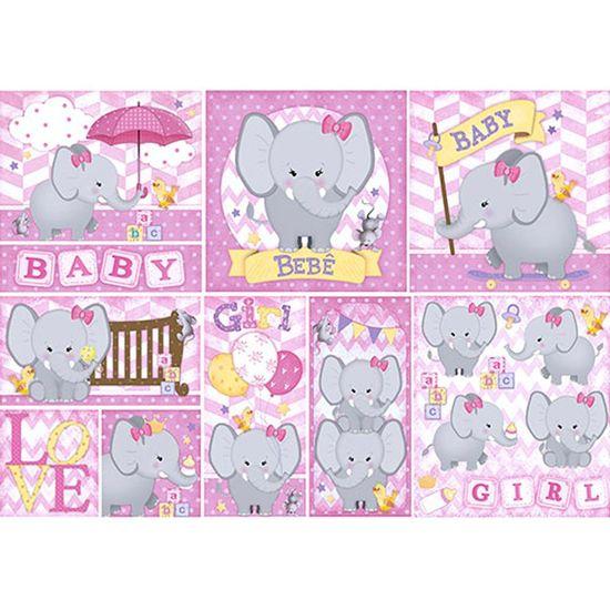 Papel Decoupage 49x34 Elefante Baby Girl PD584N - Litoarte