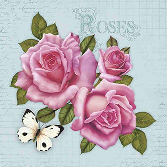 Papel Decoupage Adesiva Litoarte DA20-046 20x20cm Rosas e Borboleta