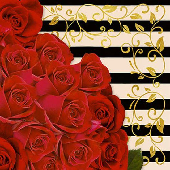 Papel Decoupage Adesiva Litoarte DA20-069 20x20cm Rosas Vermelhas
