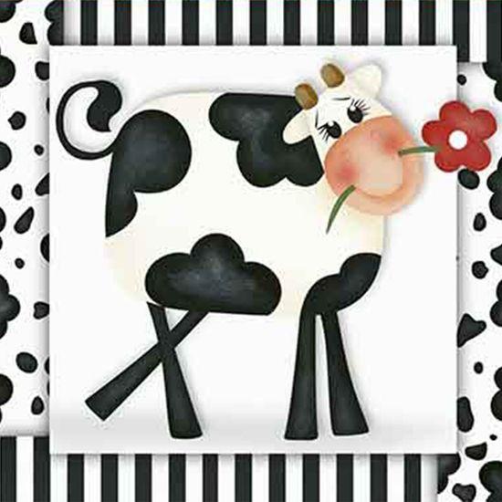 Papel Decoupage Adesiva Litoarte DAX-087 10x10cm Vaca com Flor