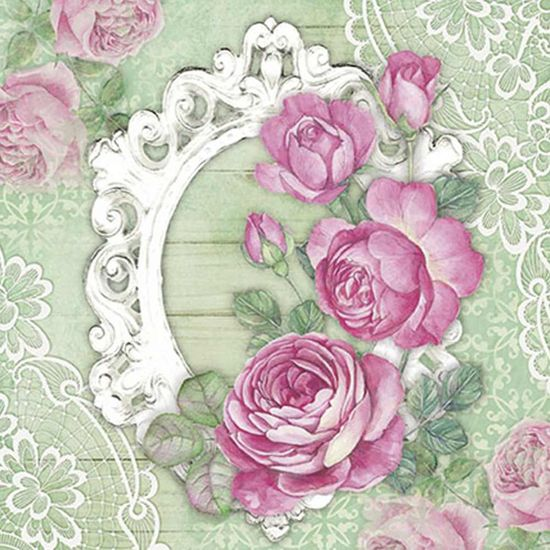 Papel Decoupage Adesiva Litoarte DAXV-062 15x15cm Rosas e Moldura