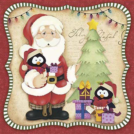 Papel Decoupage Adesiva Litoarte Natal DANX-003 10x10cm Papai Noel e Pinguins