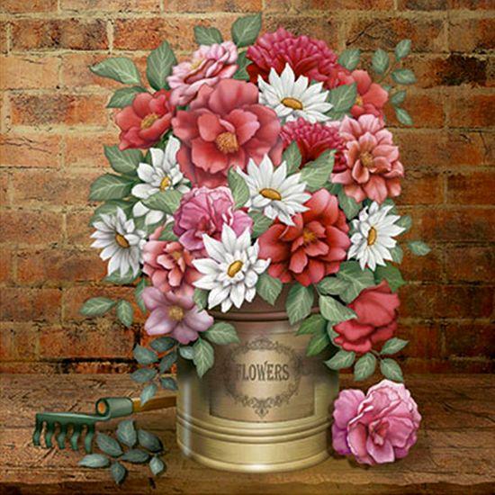 Papel Decoupage Arte Francesa Flores na Lata AFQ-368 - Litoarte
