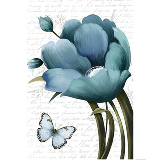 Papel Decoupage Arte Francesa Litoarte AF-305 31,1x21,1cm Tulipa Azul com Borboleta