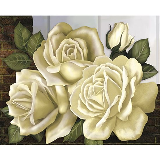 Papel Decoupage Arte Francesa Litoarte AFG-027 49,6X40,2cm Rosas Brancas