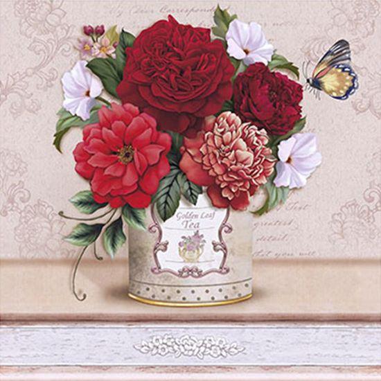 Papel Decoupage Arte Francesa Litoarte AFQ-348 21x21cm Flores Diversas Vermelhas no Vaso