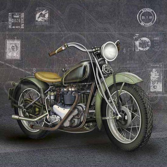 Papel Decoupage Arte Francesa Litoarte AFQ-237 21x21cm Moto Verde
