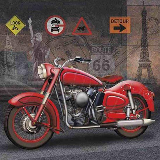 Papel Decoupage Arte Francesa Litoarte AFQ-238 21x21cm Moto Vermelha