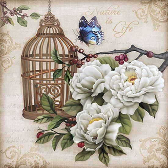 Papel Decoupage Arte Francesa Litoarte AFQG-098 30,7x30,7cm Gaiola e Borboleta Azul