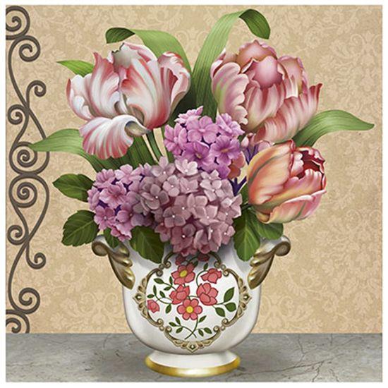 Papel Decoupage Arte Francesa Litoarte AFQG-108 30,7x30,7cm Vaso com Hortênsias e Tulipas