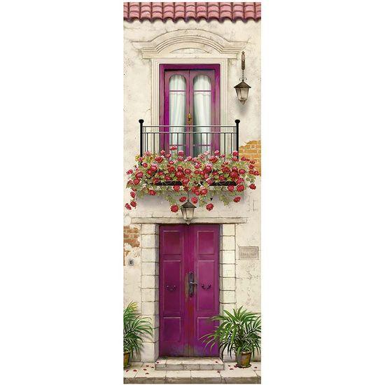 Papel Decoupage Arte Francesa Litoarte AFVE-061 22,8x62cm Fachada Porta Rosa