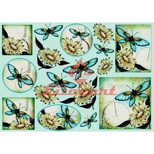Papel Decoupage Grande Flores Borboleta LD-668 Litocart