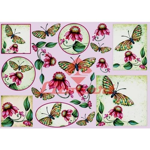Papel Decoupage Grande Flores Borboleta LD-669 Litocart