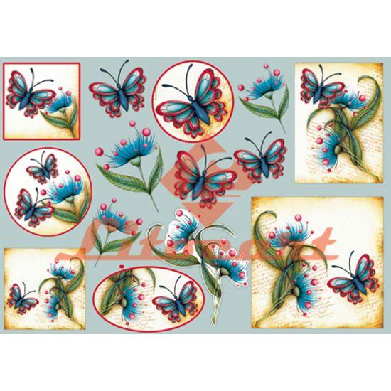 Papel Decoupage Grande Flores Borboleta LD-670 Litocart