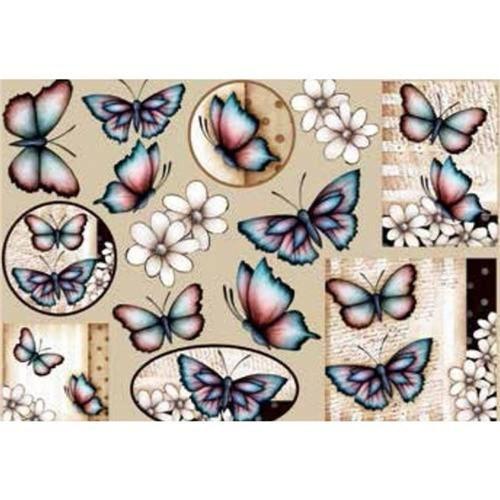 Papel Decoupage Grande Flores Borboletas - LD-768 - Litocart