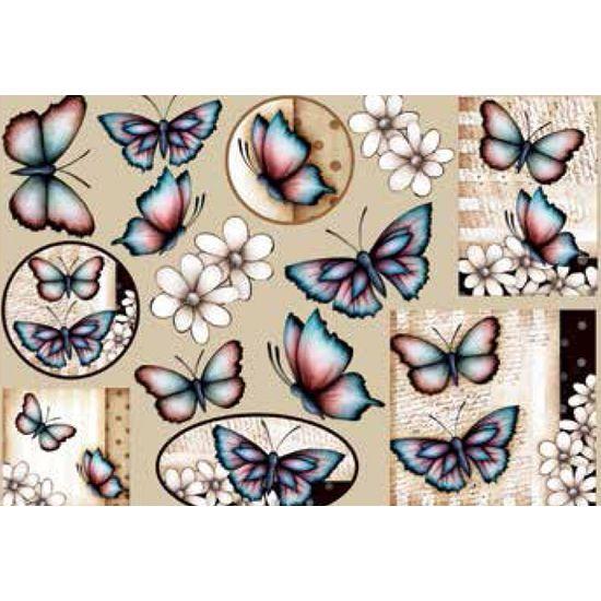 Papel Decoupage Grande Flores Borboletas LD-768 - Litocart