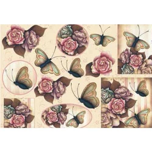 Papel Decoupage Grande Flores Borboletas - LD-769 - Litocart