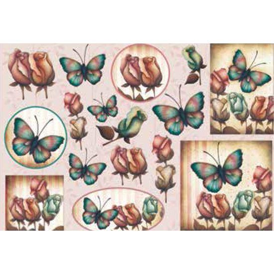 Papel Decoupage Grande Flores Borboletas LD-770 - Litocart