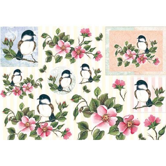 Papel Decoupage Grande Pássaro e Flor Ld-814 - Litocart