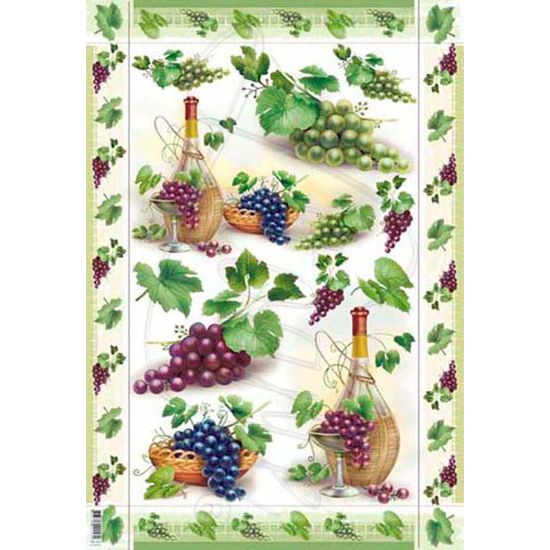Papel Decoupage Grande Vinho e Uvas PD-023 Litoarte