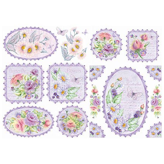 Papel Decoupage Litoarte 34,3x49 PD1-080 Rosas e Margaridas Fundo Lilás