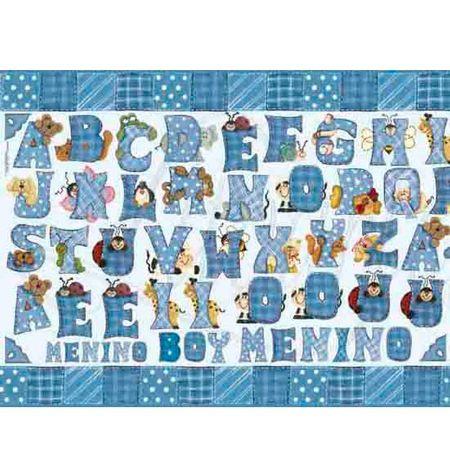 Papel Decoupage Litoarte PD-106 Alfabeto Azul - 50 X 34,3cm