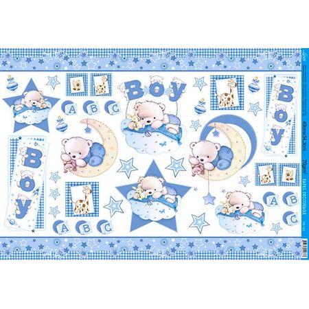 Papel Decoupage Litoarte PD-183 Urso Baby - 50 X 34,3cm