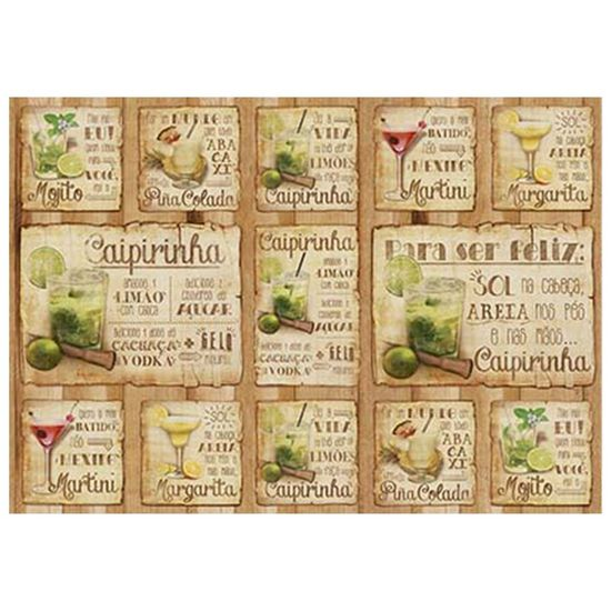 Papel Decoupage Litoarte PD-980 34,3x49cm Bebidas e Drinks