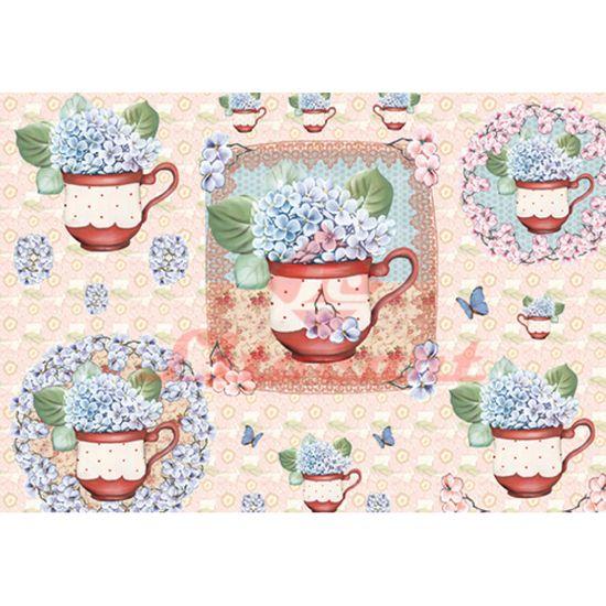 Papel Decoupage Litocart LD-836 34x48cm Flores