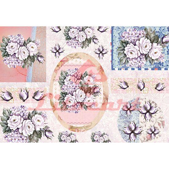 Papel Decoupage Litocart LD-837 34x48cm Flores
