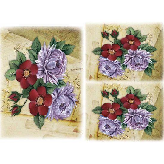 Papel Decoupage Litocart LD-915 34x48cm Flores Vintage