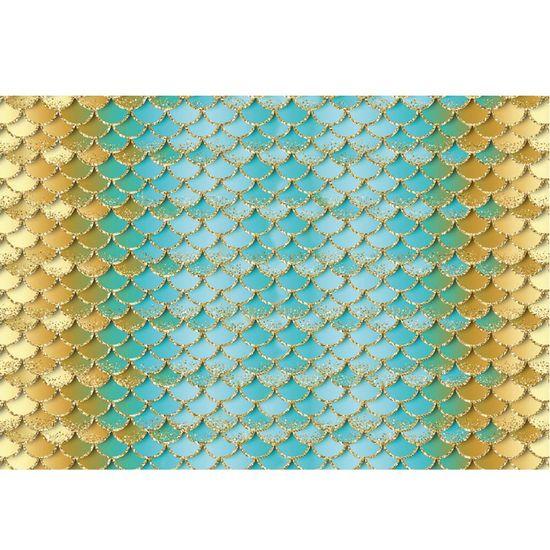 Papel Decoupage Litocart LD-927 34x48cm Estampa Escama Sereia Azul