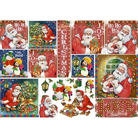 Papel Decoupage Natal Litoarte PDN-127 34,3x49cm Papai Noel Vintage e Pinguins
